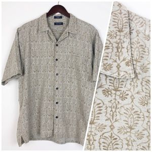 NAUTICA Men's Beige Batik Print Short Sleeve Shirt